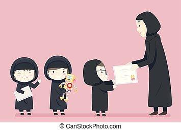 gosses, illustration, donner, récompense, filles, musulman, robotique