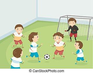 gosses, illustration, football, stickman, jeu, intérieur