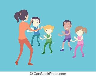 gosses, illustration, tout petits enfants, girl, classe, exercice