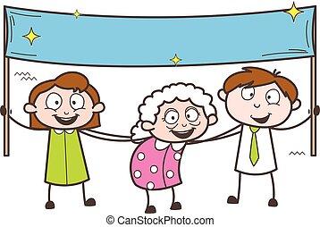 gosses, illustration, vecteur, tenue, grand-maman, bannière, dessin animé