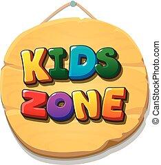 gosses, illustration., zone, banner., enfants, signe, vecteur, cour de récréation, ou