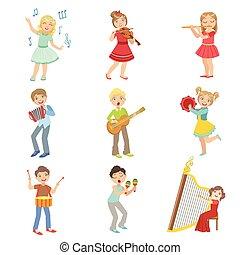 gosses, instruments, ensemble, musique, chant, jouer