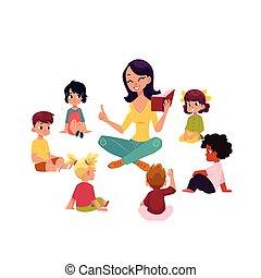 gosses, jardin enfants, livre, lecture, prof, écouter