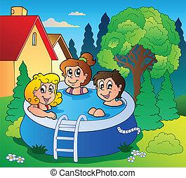 gosses, jardin, piscine, trois
