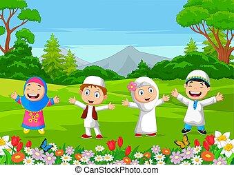 gosses, jouer, musulman, parc, heureux