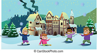gosses, jouer, sur, les, neige, vecteur