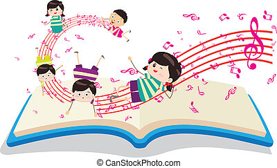 gosses, livre musique, heureux