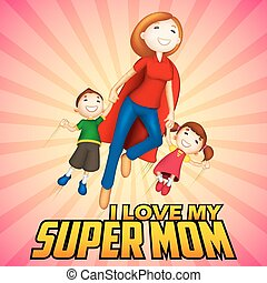 gosses, mère, supermom, jour, carte, heureux