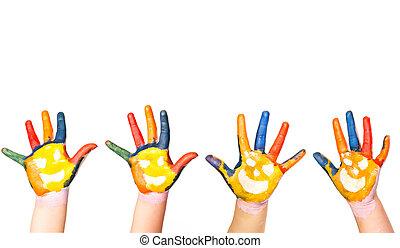 gosses, mains, dans, coloré, peinture, à, sourires
