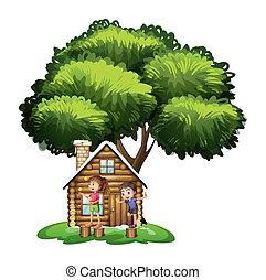 gosses, maison, arbre, dehors, sous, jouer