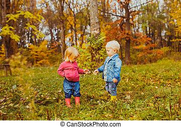 gosses, marche, automne, parc, mignon
