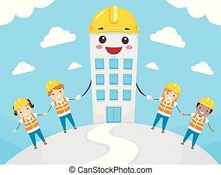 gosses, mascotte, stickman, bâtiment, illustration