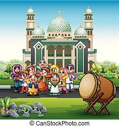 gosses, mosquée musulmane, devant, dessin animé, heureux