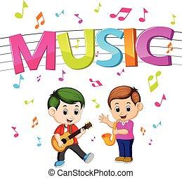 gosses, mot, guitare, musique, saxophone, jouer