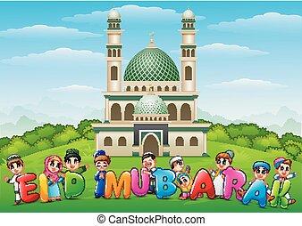 gosses, mubarak, eid, dessin animé, célébrer, heureux