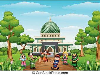 gosses, mubarak, mosquée, eid, fond, célébrer, heureux