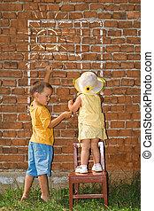 gosses, mur, ensoleillé, fenêtre, brique, dessin