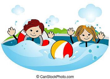 gosses, natation