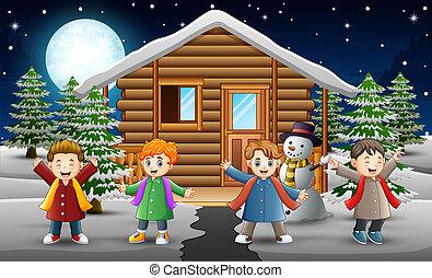 gosses, neiger, maison, devant, chant, dessin animé