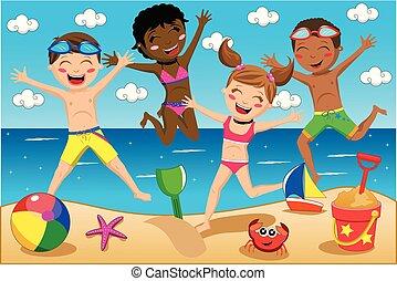 gosses, ou, sauter, maillot de bain, plage, enfants
