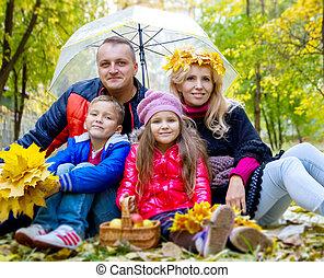 gosses, parapluie, famille, laisse deux, automne, sous