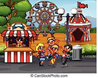 gosses, parc, amusement, avoir, amusement, heureux