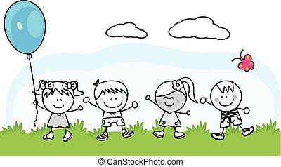 gosses, parc, jouer, heureux