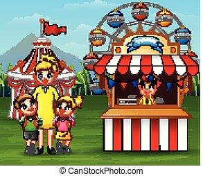 gosses, parent, parc, leur, amusement, avoir, amusement, heureux