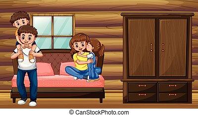 gosses, parents, deux, famille, chambre à coucher