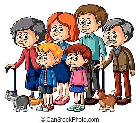 gosses, parents, membres, famille