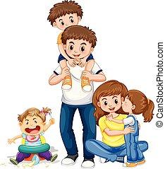 gosses, parents, trois, famille