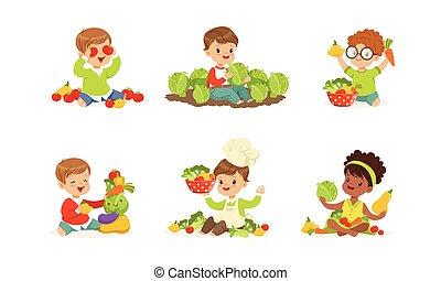 gosses, peu, légumes, vecteur, jouer, ensemble