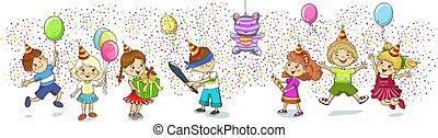 gosses, pinata., partie., celebration., anniversaire, enfants, jeu