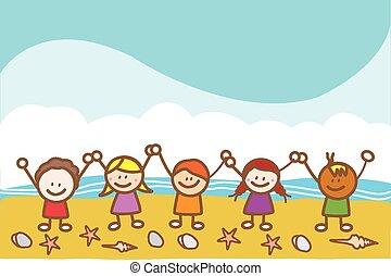 gosses, plage, heureux