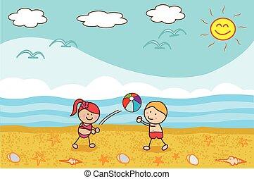 gosses, plage, jeu boule, heureux
