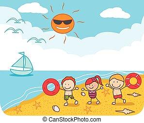gosses, plage, jouer, heureux