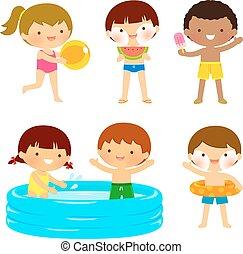 gosses, plage, ou, piscine