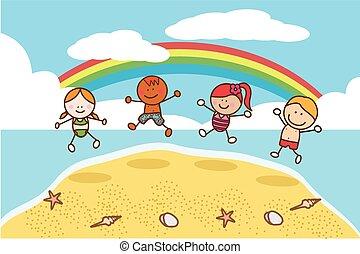 gosses, plage, sauter, heureux