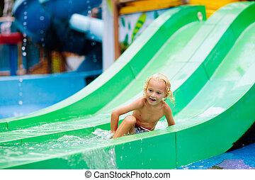 gosses, pool., eau, park., enfant, natation