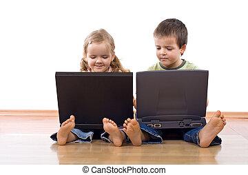gosses, portable utilisation, ordinateurs
