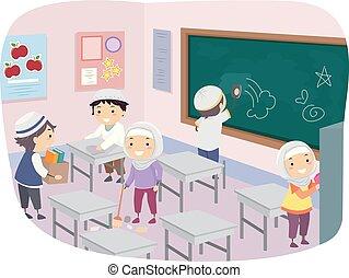 gosses, propre, musulman, stickman, illustration, classe