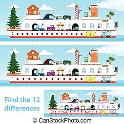 gosses, puzzle, différences, tache, 12, bateau