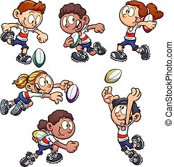 gosses, rugby, jouer