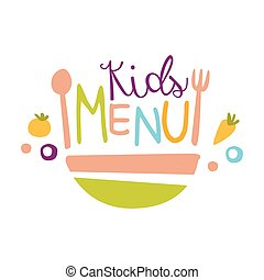 gosses, salade, coloré, promo, menu, bol, nourriture, signe, gabarit, texte, café, enfants, spécial