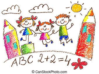 gosses, school., drawing., crayon, kindergarten., playground., heureux, enfants, illustration.
