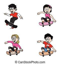 gosses, skateboard, jouer