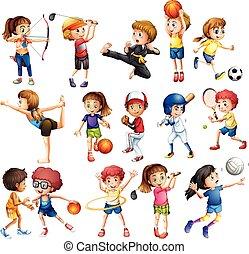 gosses, sport, jouer
