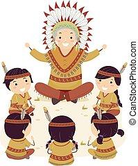 gosses, stickman, aîné, indien amérique, enseigner, indigène