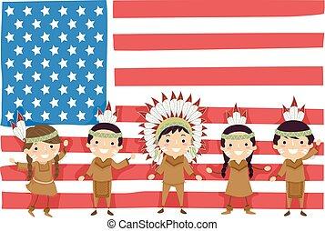 gosses, stickman, américain, illustration, drapeau, indigène