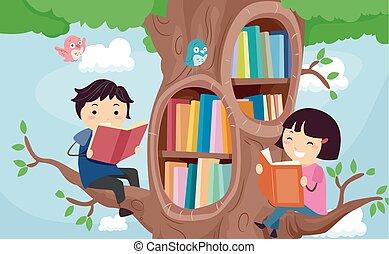 gosses, stickman, arbre, bibliothèque, livres, illustration